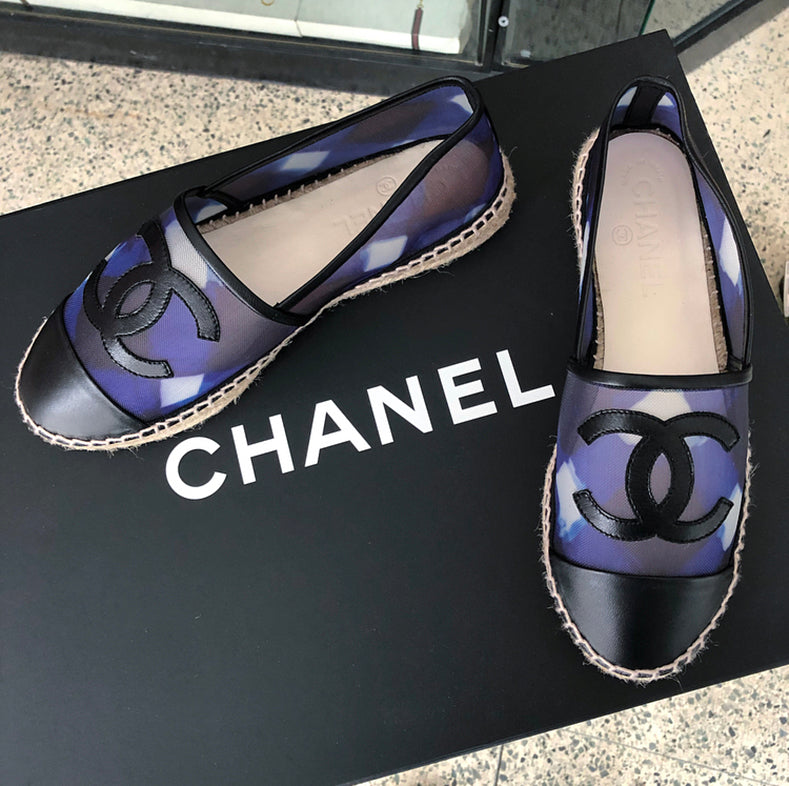 Chanel Blue Mesh and Black Leather CC Espadrille Flats - 36.5