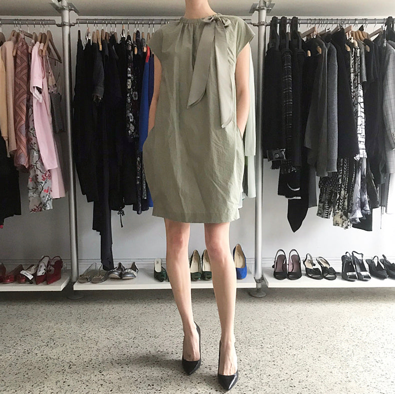 Brunello Cucinelli Khaki Green Short Shift Dress with Neck Sash