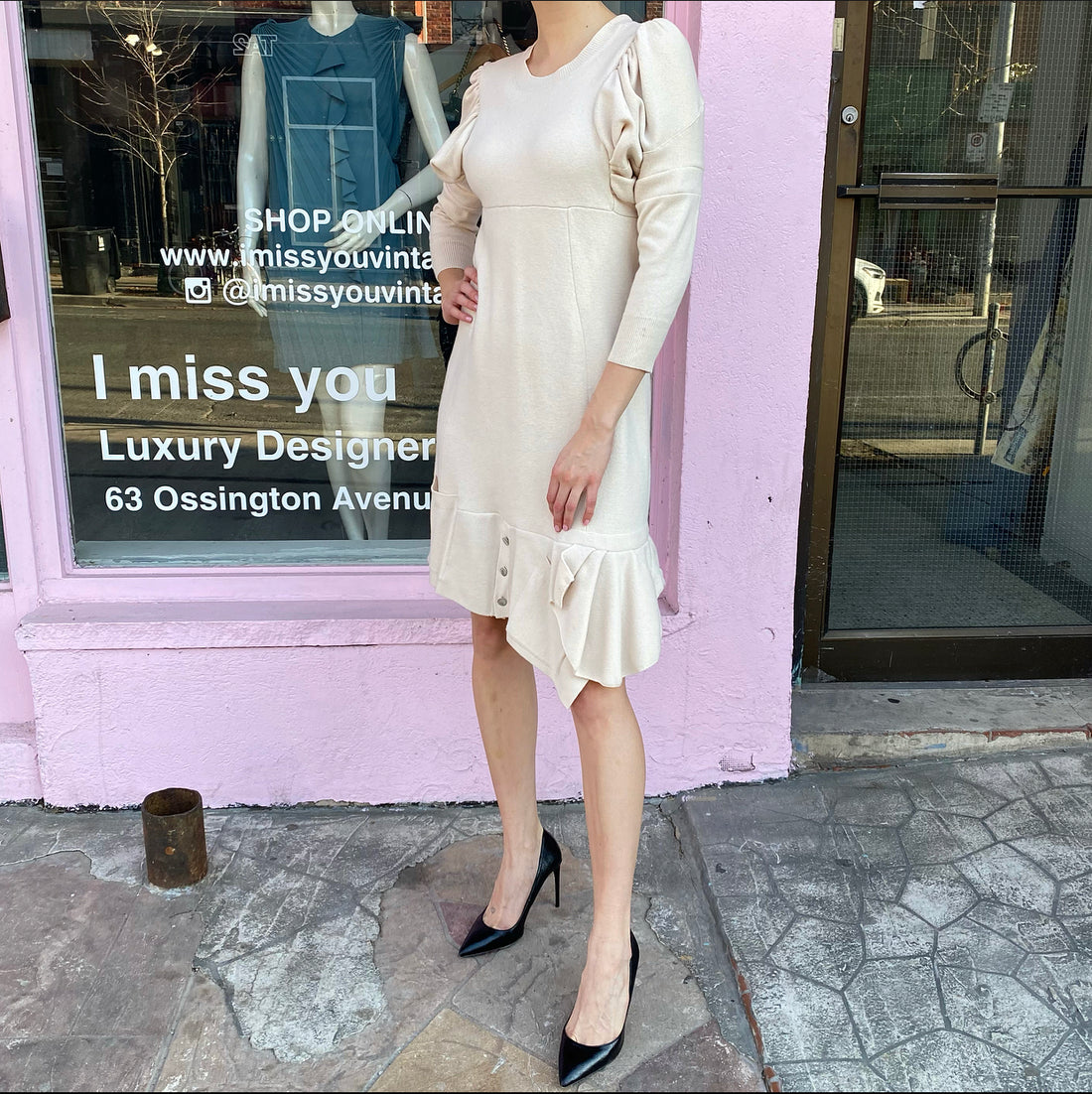 Louis Vuitton Ivory Knit Ruffle Sweater Dress – M (6/8)