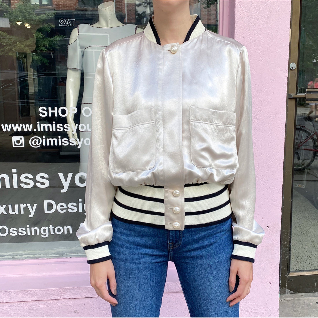 Chanel Blush Nude Satin Bomber Jacket with Pearl Buttons - FR38 / USA 6