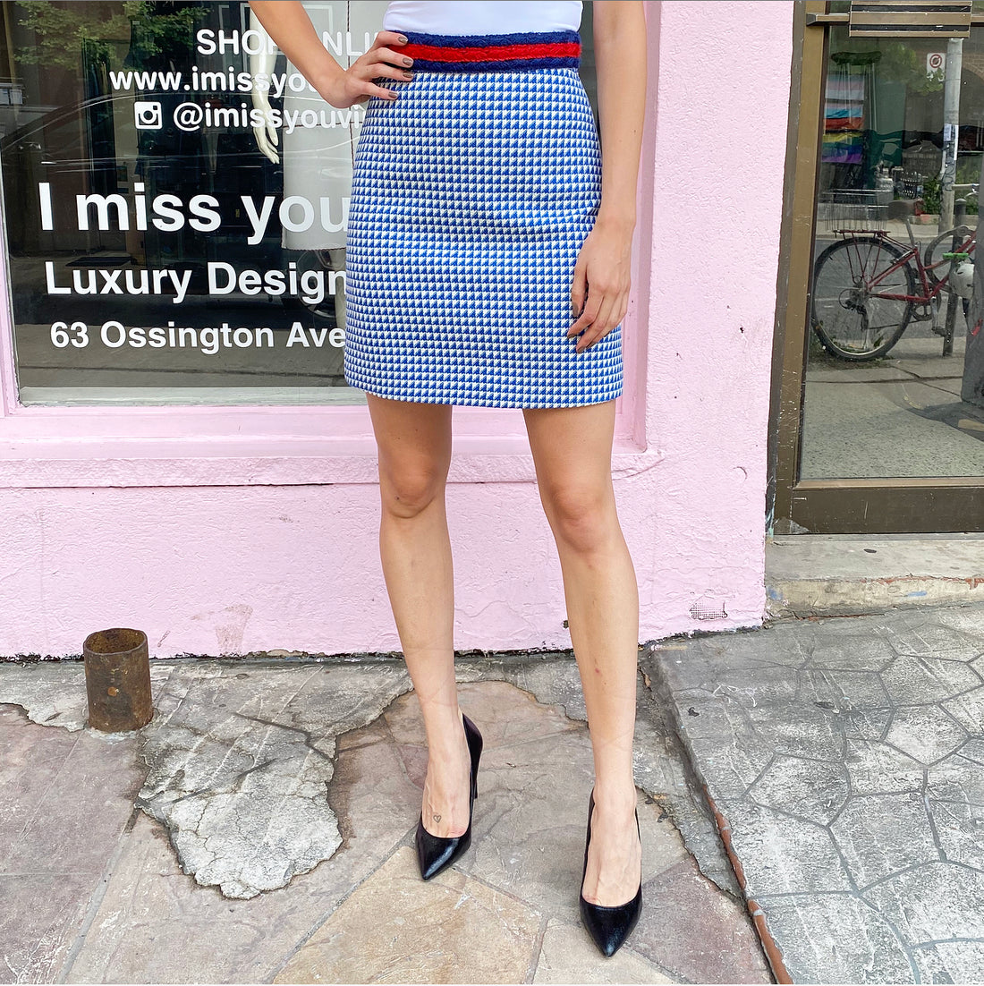 Gucci Blue and White Houndstooth Check Mini Skirt - IT38 / USA 2 / XS