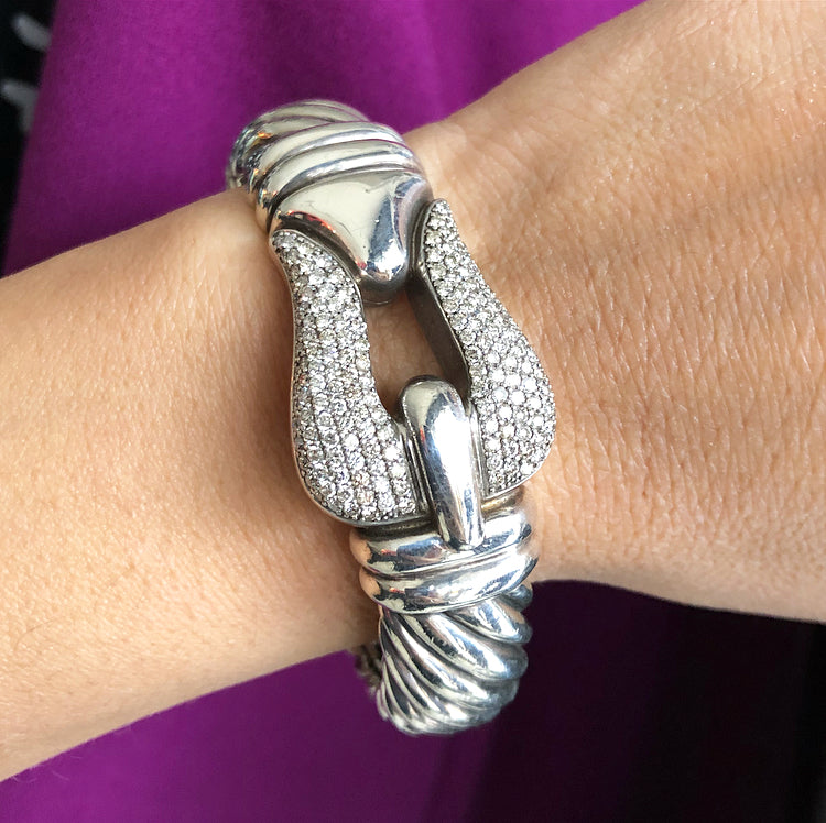 David Yurman Sterling and Pave Diamond 15mm Cable Buckle Bracelet
