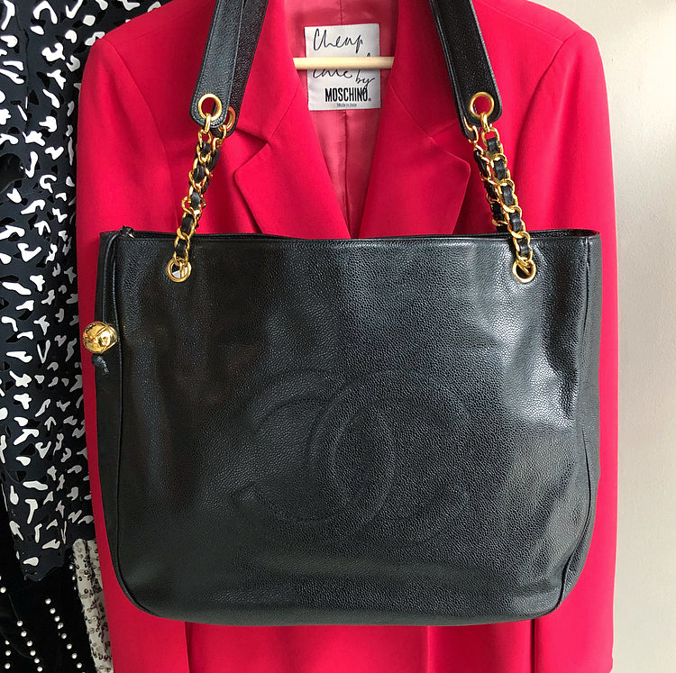 Chanel Vintage 1994 Caviar Leather Large CC Logo Tote Bag