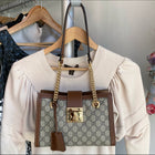 Gucci Small Brown Monogram Supreme Padlock Shoulder Bag