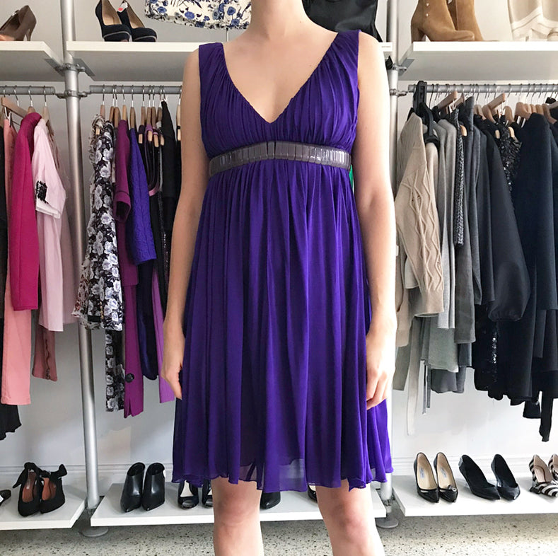 Versace Purple Jersey Dress with Segmented Lucite Belt – 4