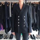 Balmain Black Wool Pea Coat with Silver Buttons – S