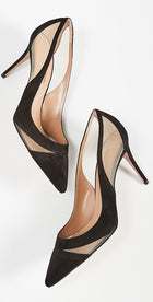 Aquazzura Savoy 85 Black Suede and Mesh Pump - 38
