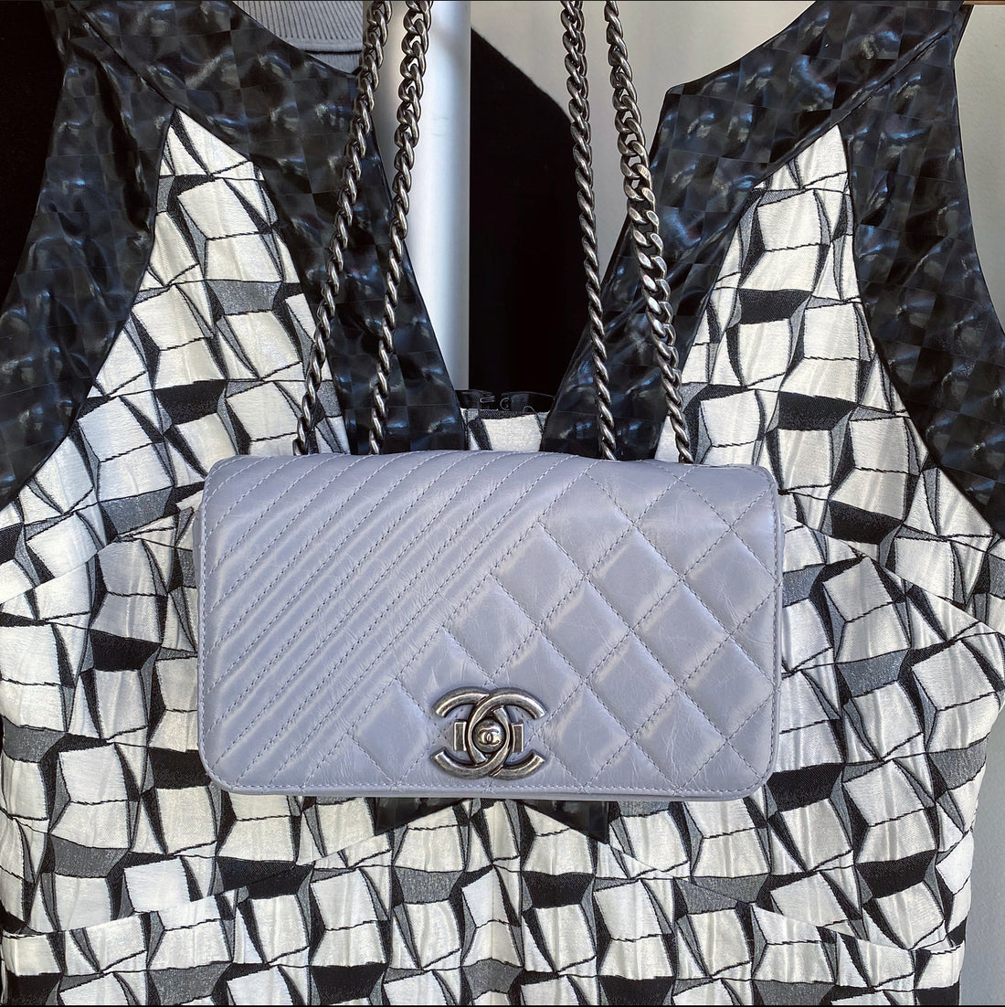 Chanel Grey Quilted Mini Flap Bag with Ruthenium Chain Strap