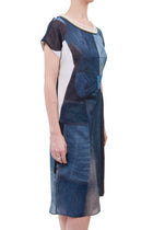Junya Watanabe Jeans Comme des Garcons Blue Denim Patchwork Dress with Pearls