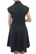Lanvin Spring 2013 Navy Tuxedo Style Dress with Wide Ribbon Belt