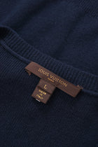 Louis Vuitton Navy Cashmere Tank Top with Plastic Chain and Charms Detail