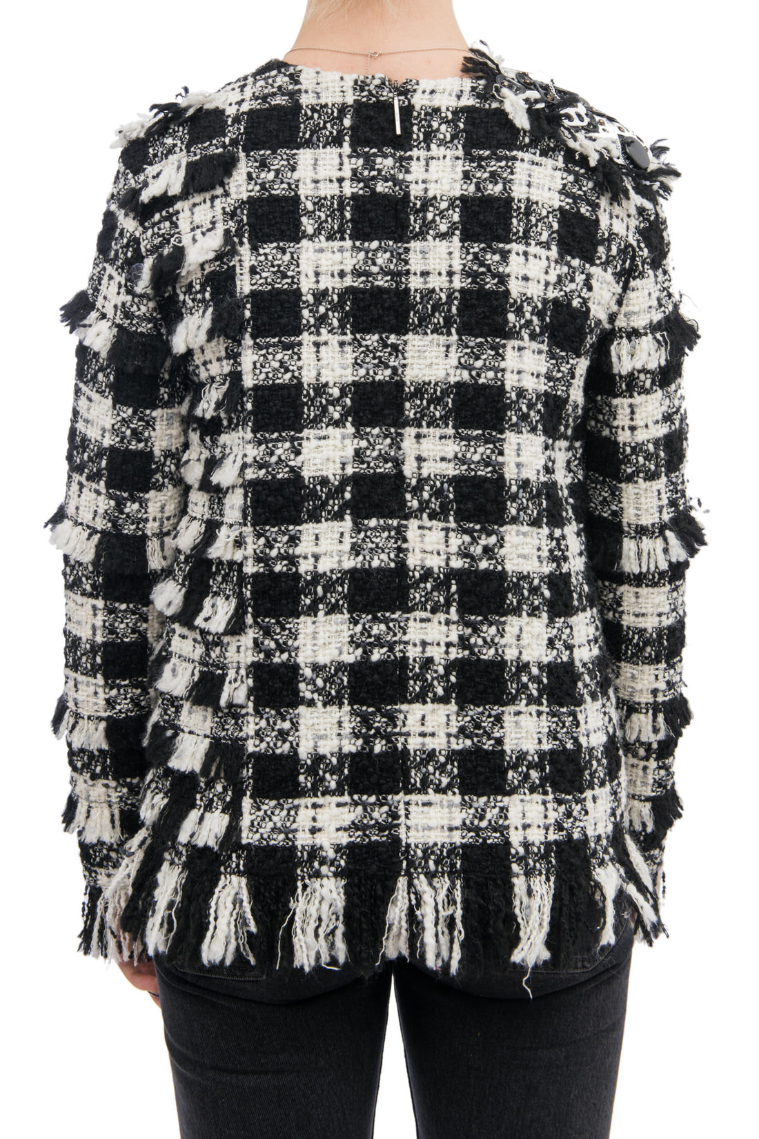MSGM Pre-Fall 2016 Black and White Tweed Top with Bottle Caps