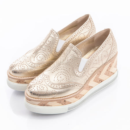 Miu Miu Gold Wedge Cork Platform Oxfords