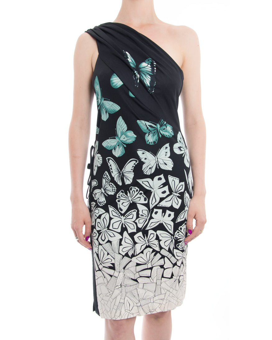 Versace Black and Aqua Green One-Shoulder Butterfly Dress - 10