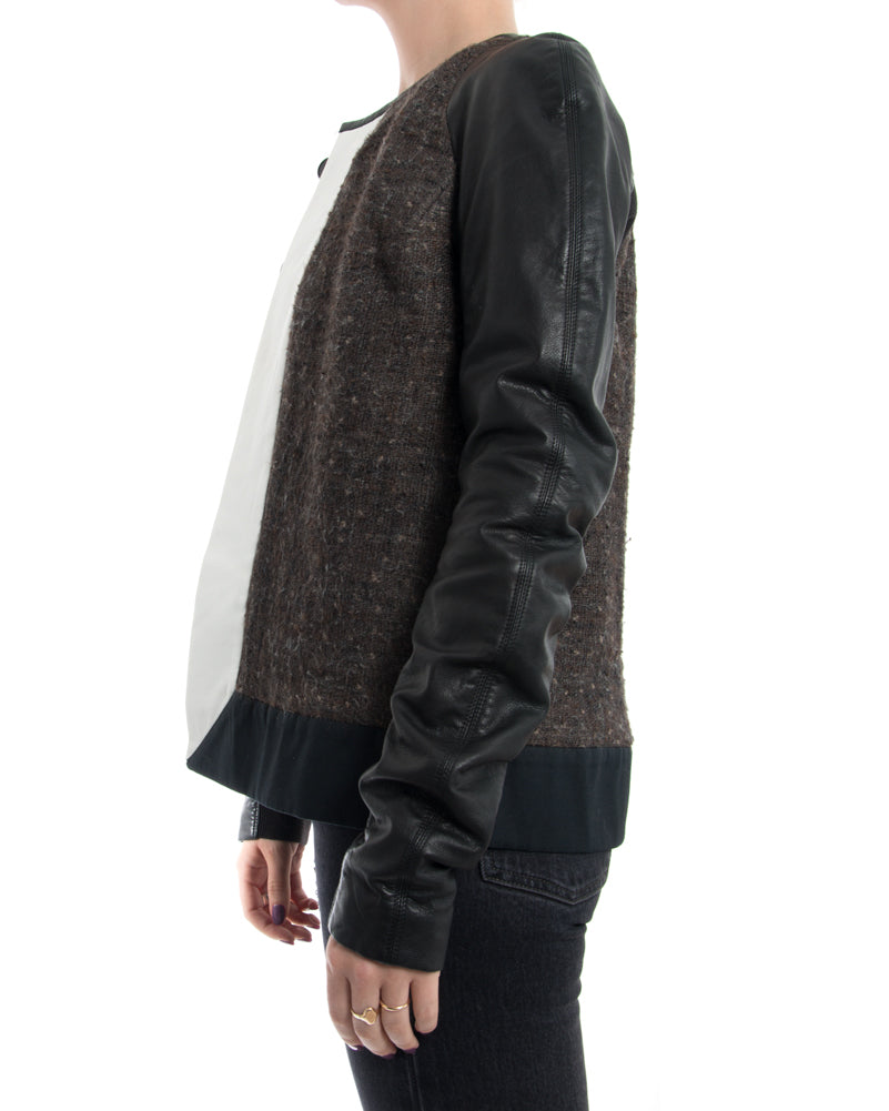 Rick Owens Brown Wool Jacket with White Stripe and Leather Sleeves - 8