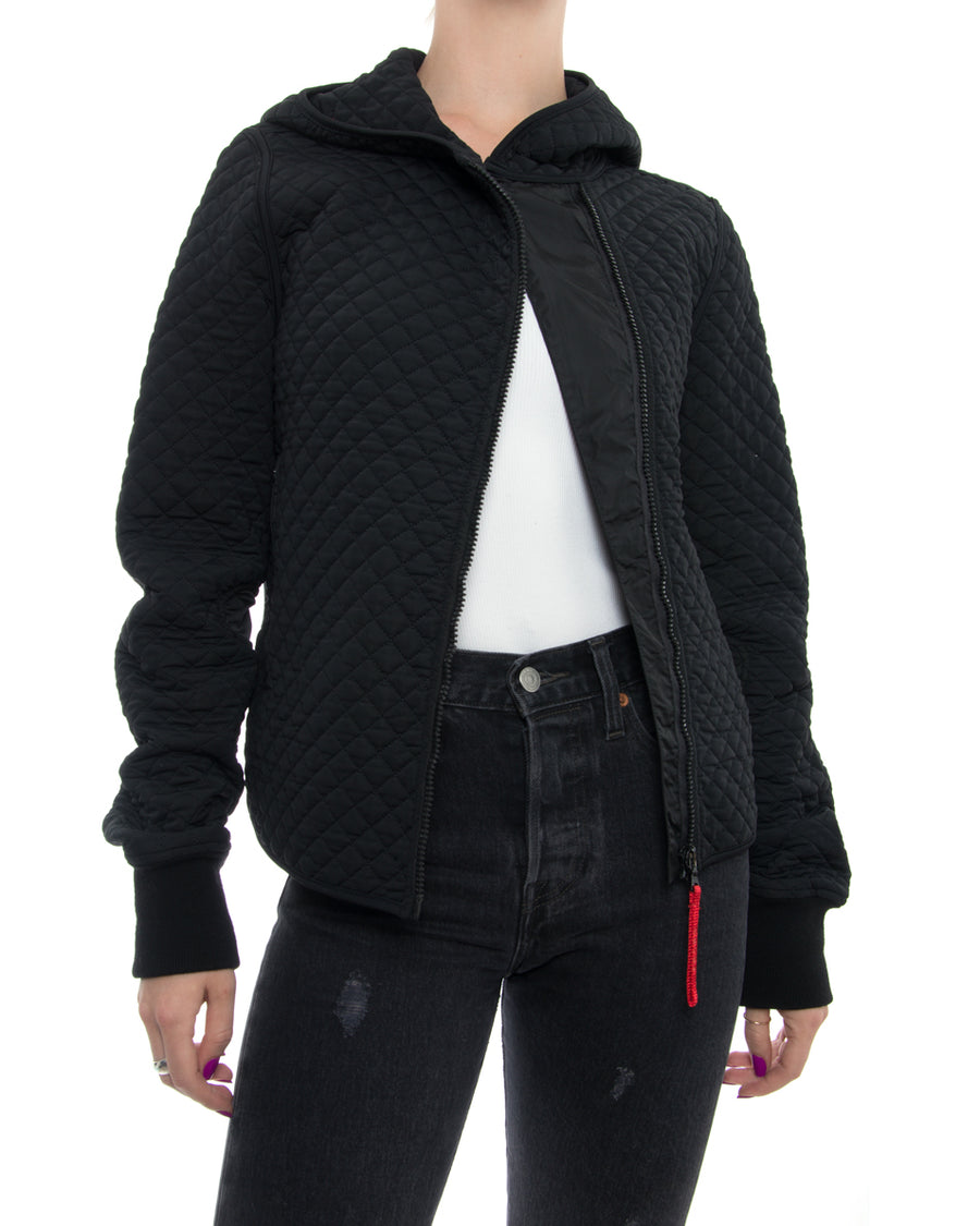 Prada Sport Black Quilted Hoodie Jacket with Knit Inset - M