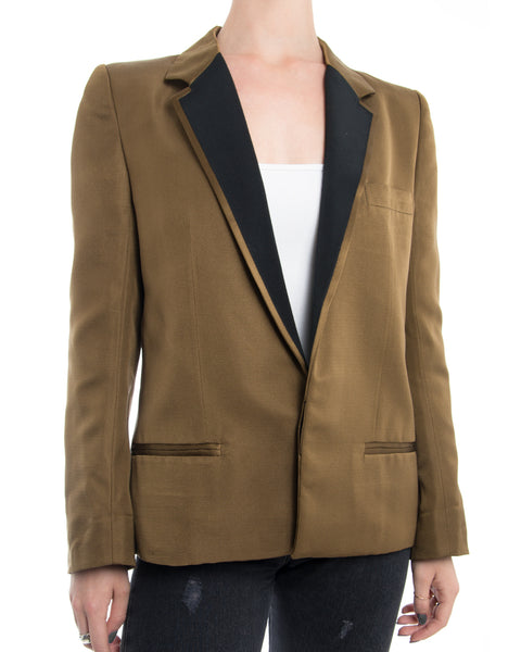 Haider Ackermann SS14 Gold Blazer with Black Lapel - M