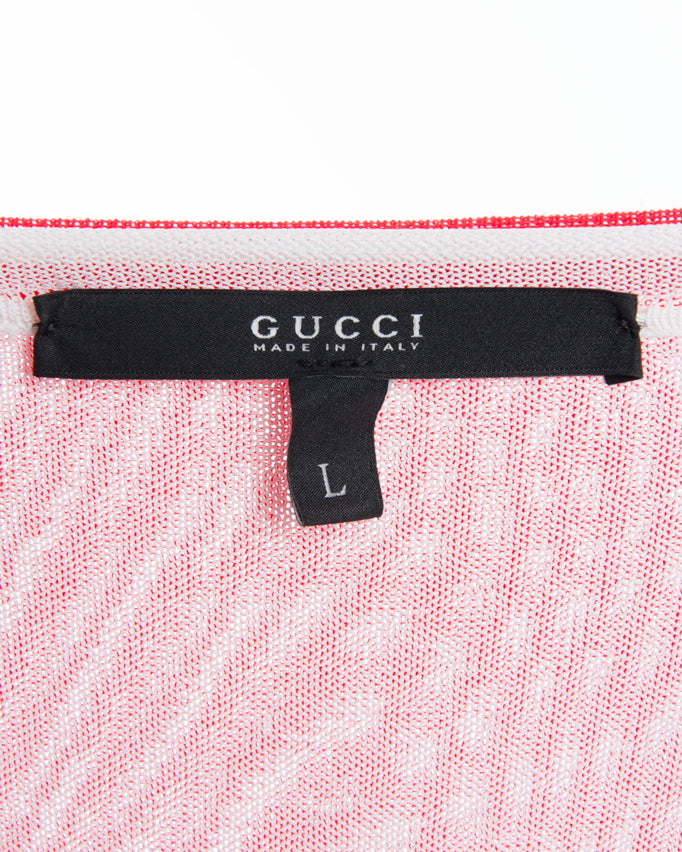 Gucci Red Cashmere Sweater with White Layered Tank - L