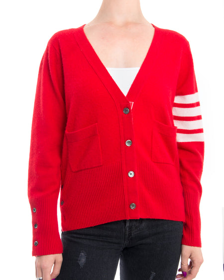 Thom Browne Red Cashmere Cardigan with White Striped Sleeve - M