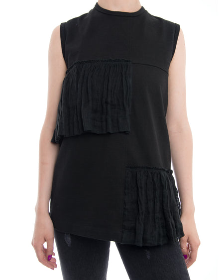 Marni Black Sleeveless Top with Linen Ruffle Trim - 8