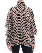 Marni Silk Op Art Pattern Blouse with Split Sleeves - 8