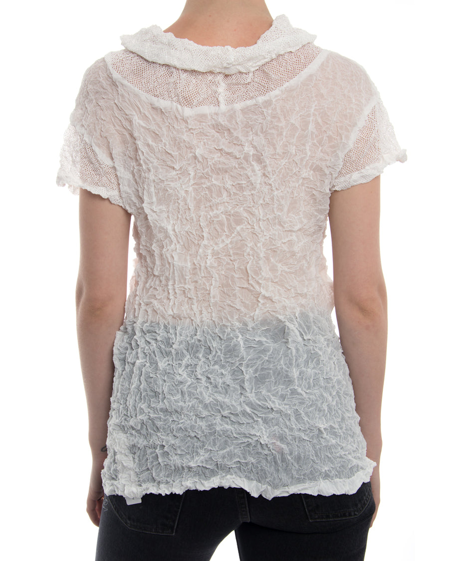 Issey Miyake Fete White Wrinkle Pleated T-Shirt Top - M