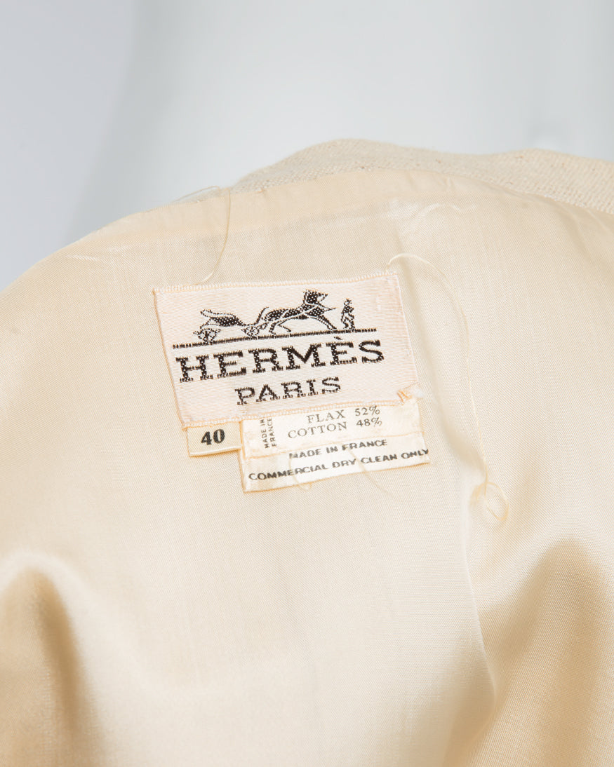 Vintage Hermes 1970's Natural Linen Skirt Suit