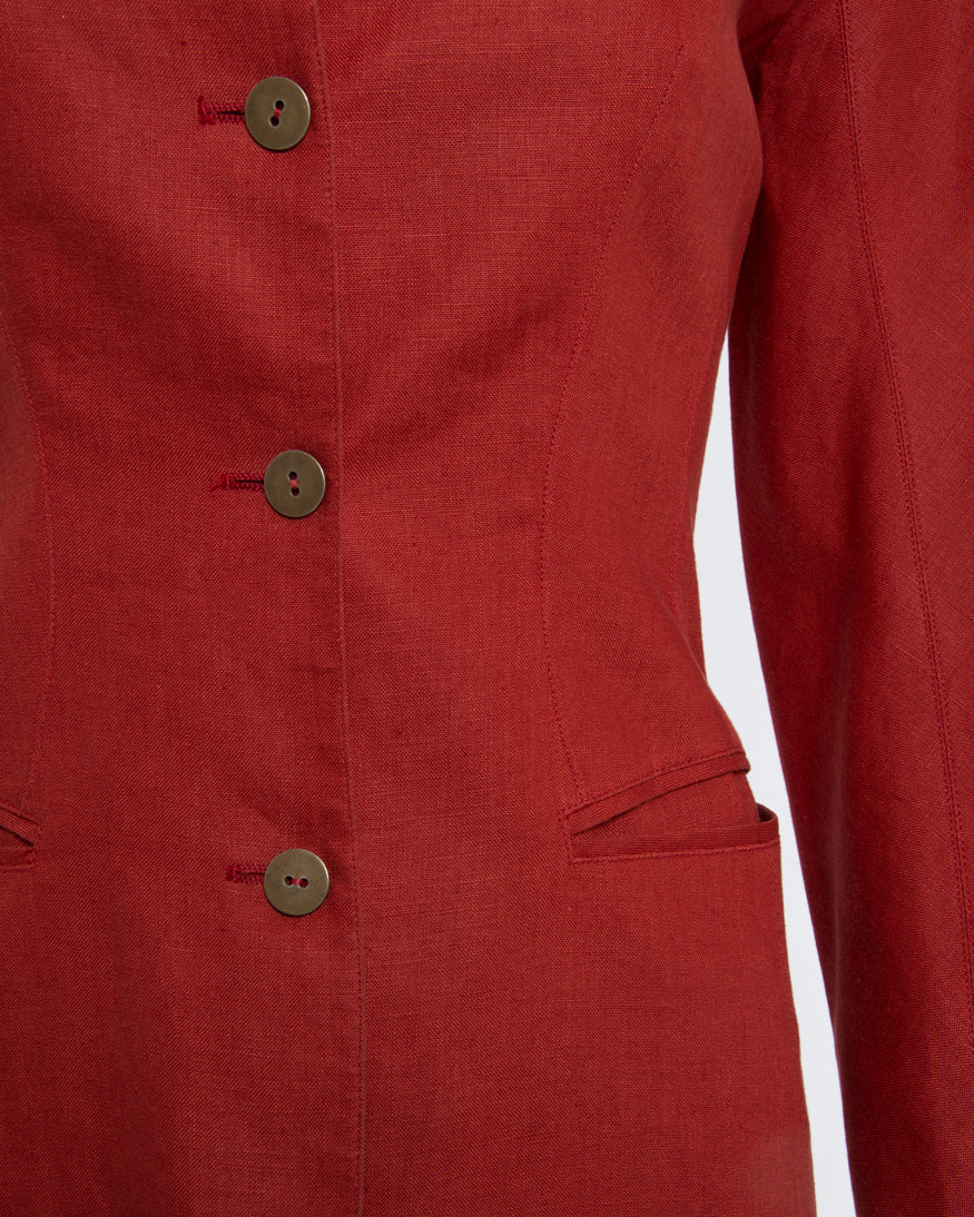Vintage 1990's Claude Montana Red Linen Jacket with Caged Back