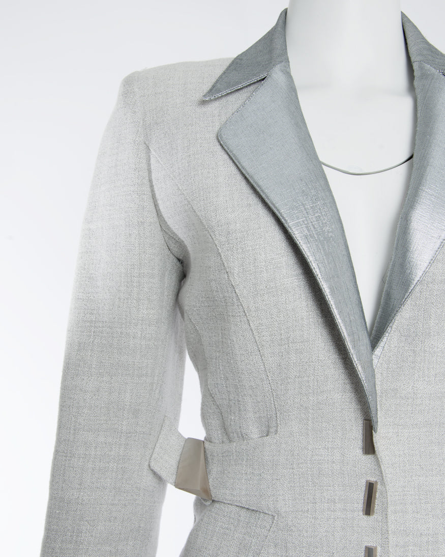 Vintage Thierry Mugler Couture Grey and Silver Linen Skirt Suit