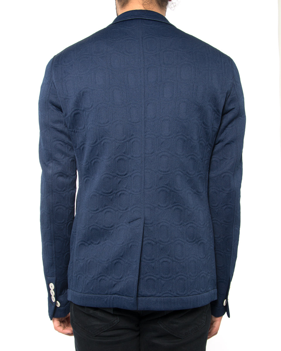 Marni Navy Blue Double Knit Textured Blazer Jacket with White Buttons