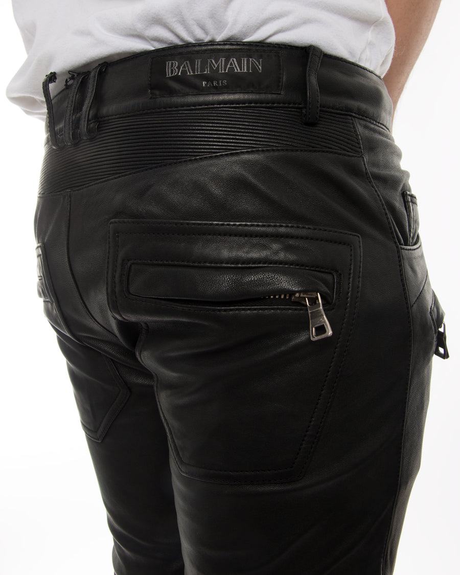 Balmain Black Leather Skinny Motorcycle Pants with Zippers - 29 XS