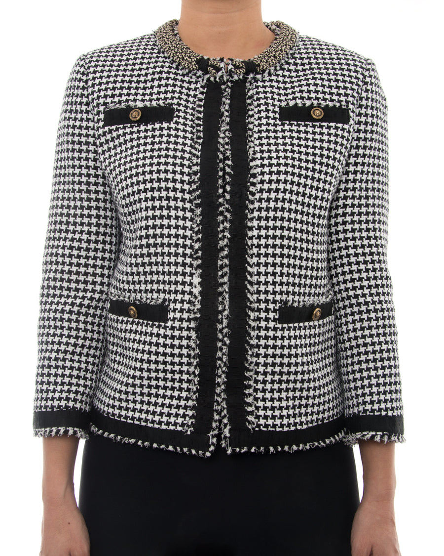 MSGM Black White Houndstooth Check Tweed Jacket - USA 8