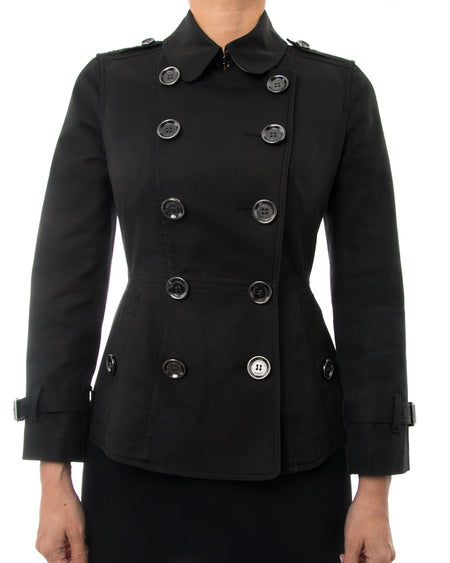 Burberry Brit Black Fitted Short Trench Jacket - XS