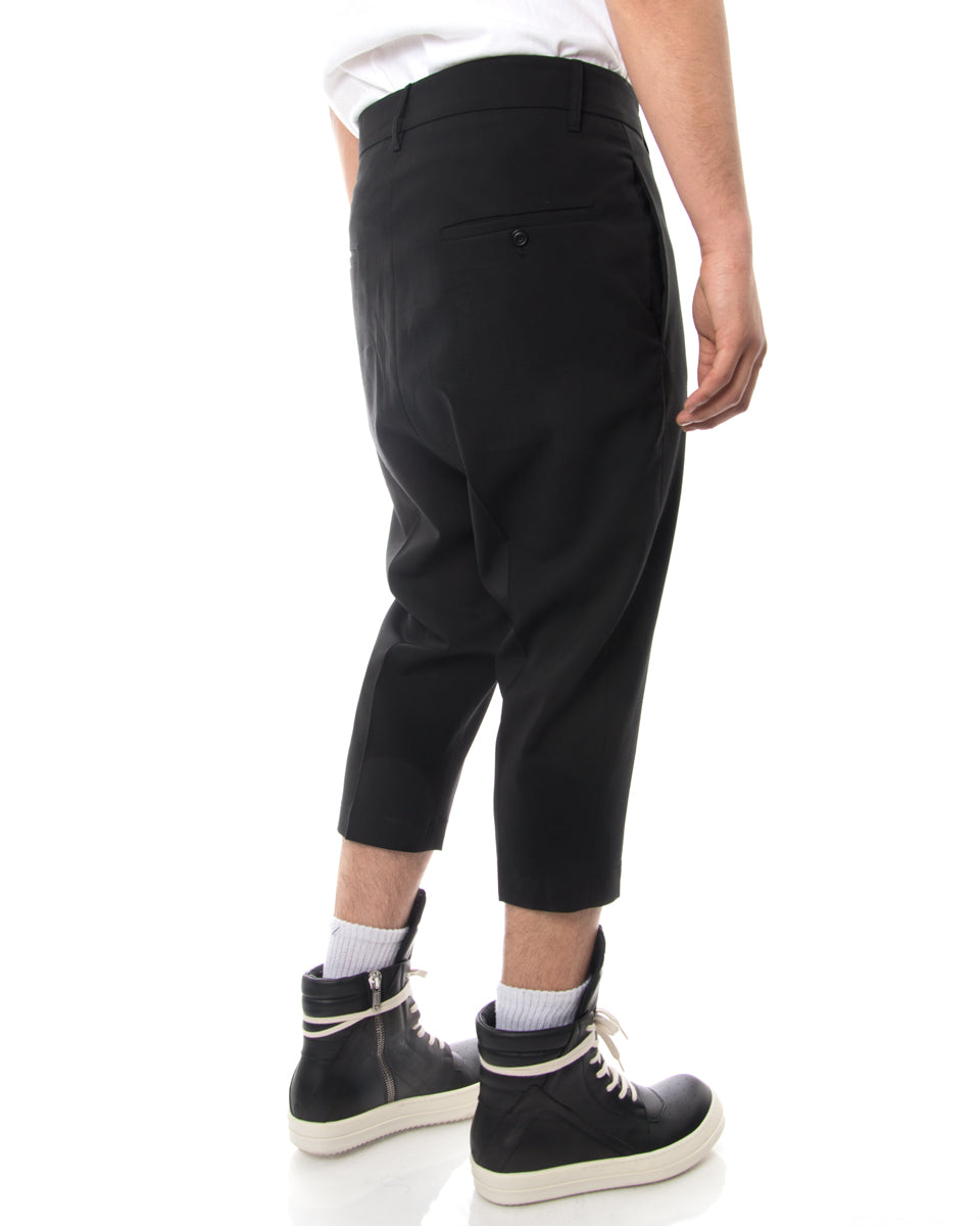 Rick Owens Drop Crotch Wool Tapered Cropped Trousers - 30
