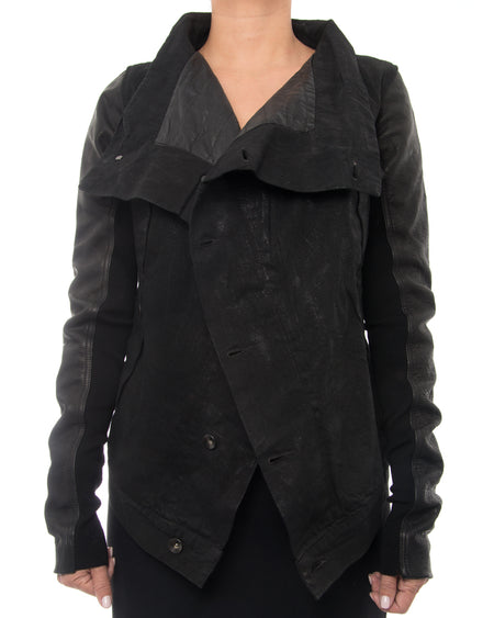 Rick Owens DRKSHDW Black Waxed Denim Jacket with Leather Sleeves - XS