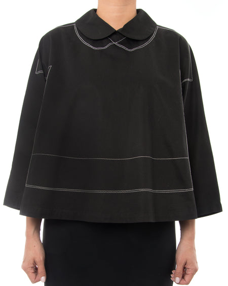 Comme Des Garcons Black Cotton Swing Top with White Topstitching - M