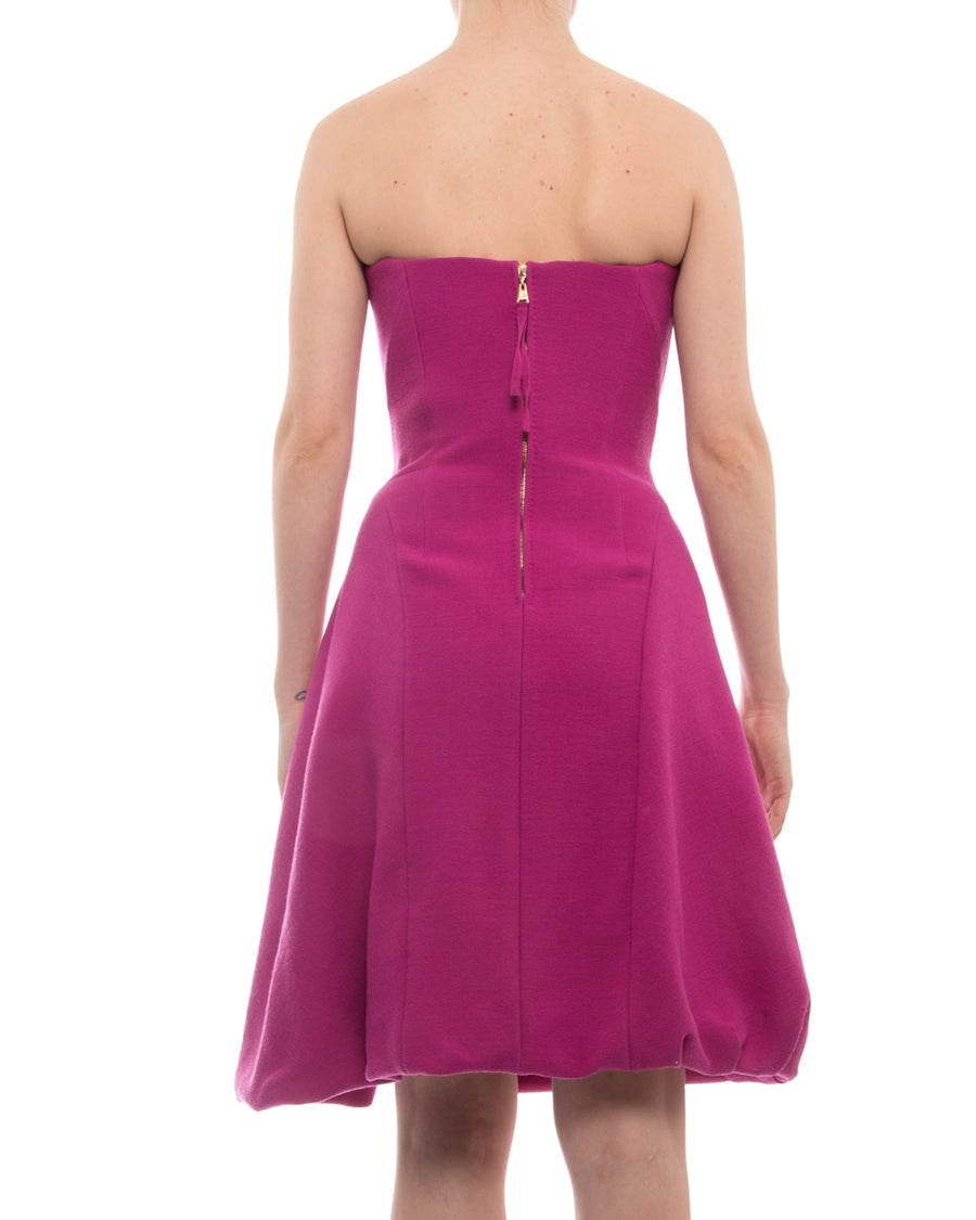 Louis Vuitton Hot Pink Strapless Dress with Boned Bodice - USA 0 XS