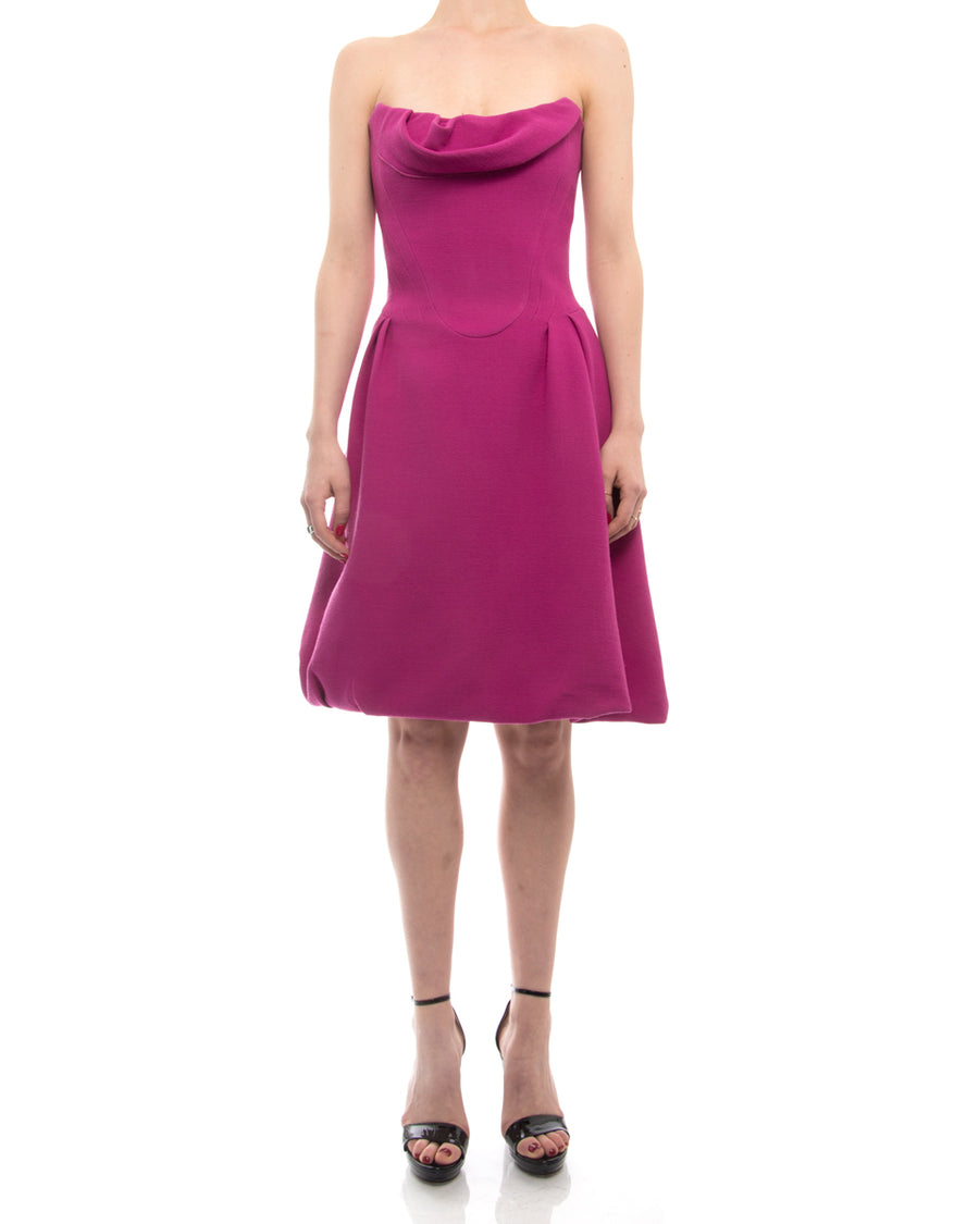 Louis Vuitton Hot Pink Strapless Dress with Boned Bodice