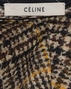 Celine Yellow and Brown Houndstooth Shift Dress - M