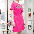 Kenzo Hot Pink Knit Dress with Raised Logo Cactus Embroidery