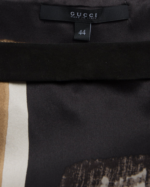 Gucci Stappy Silk Brown Grey Tank with Suede Trim