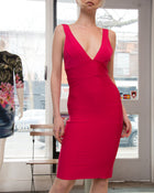 Herve Leger Hot Pink Body-Con Bandage Dress