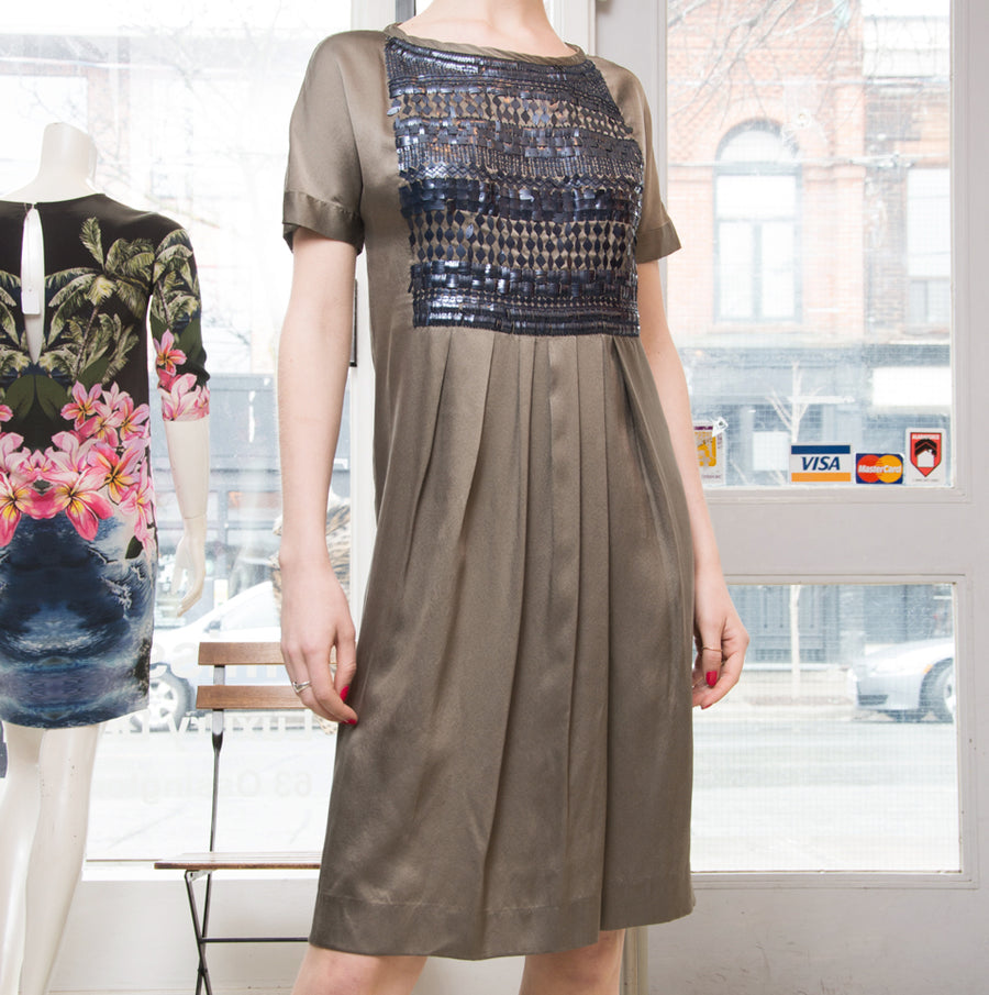 Dries Van Noten Grey Silk Dress with Sequin Bodice Detail.