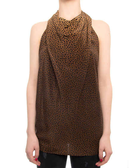 Gucci Leopard Pattern Sleeveless Blouse with Open Back