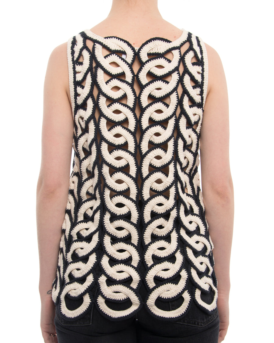 Chloe Ivory and Navy Circular Crochet Tank Top - M
