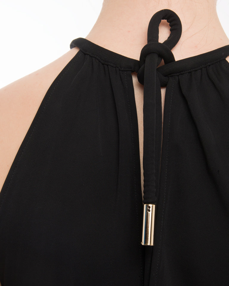 Gucci Black Jersey Halter Top with Gold Bar at Neckline - M