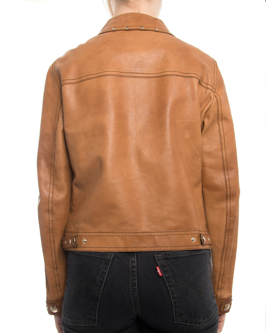 Gucci Tan Brown Leather 1970's Style Snap Jacket with Studs
