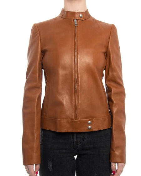 Gucci Equestrian Caramel Lambskin Leather Cafe Racer Jacket - 4