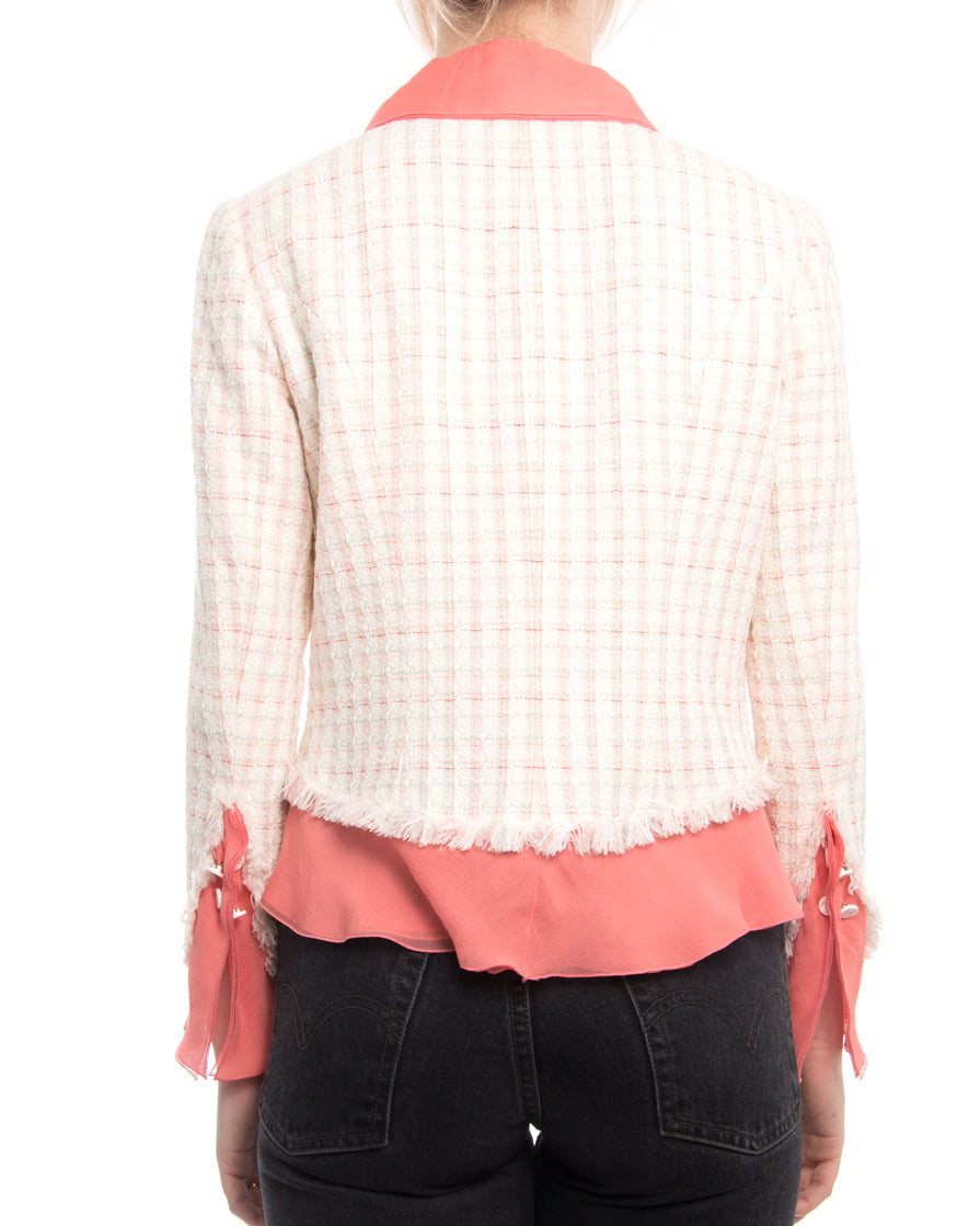 Chanel Cruise 2004 Ivory Tweed Jacket with Sheer Salmon Pink Trim - USA 2/4