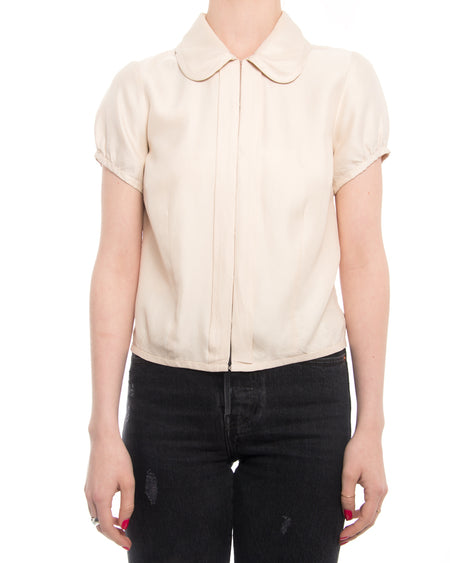 Louis Vuitton Cream Blouse with Cap Sleeve - XS 0